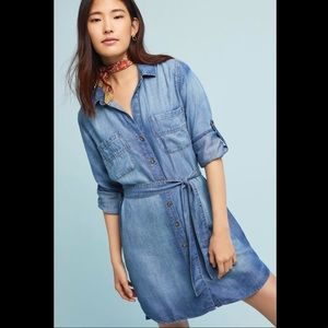 Anthropologie Cloth & Stone Chambray Shirtdress M